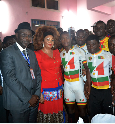 First Lady fetes with cyclists in Meyomessala