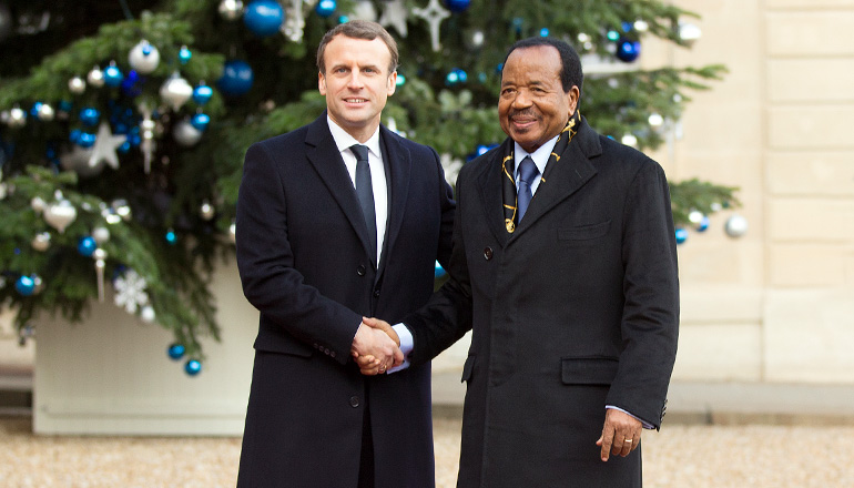 One Planet Summit : Emmanuel MACRON reçoit Paul BIYA à l'Elysée